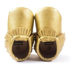 Other - Gold Baby Moccasins - Vegan Leather Baby Moccasins